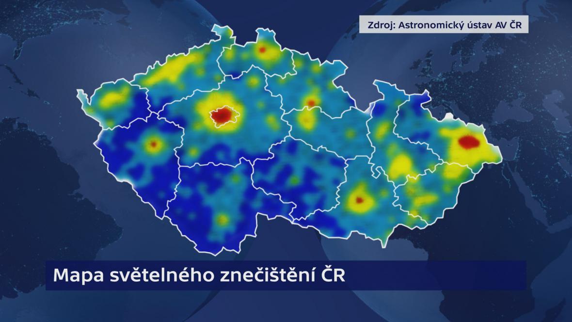 Světelné znečištění mapa